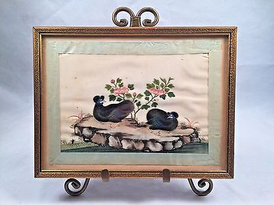 Antique Chinese Pith Picture Rice Paper Painting TWO BIRDS