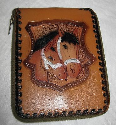 Vintage Horse & Foal Pony Top Grain Cowhide Zippered Plastic Inside Brown Tones