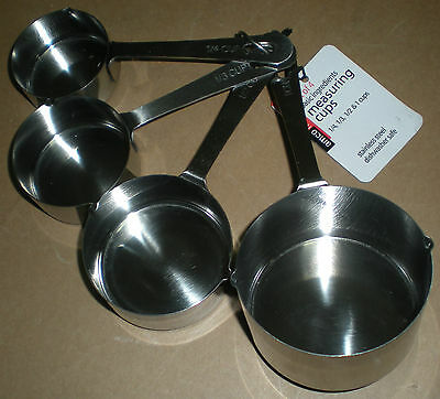 Amco Basic Ingredients Stainless Steel Measuring Cups 1/4 1/3 1/2 1 Cup 4 Pc Set
