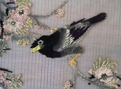 Vintage Framed Tufted Chenille Embroidery Black Bird Flowers Silky Gray Oriental