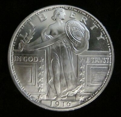 1 oz -1916 Standing Liberty silver Art round .999 pure One Troy Ounce B.U.GEMS