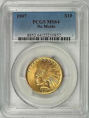 1907 No Motto $10 Indian Head Gold Eagle PCGS MS64