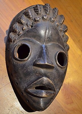 Antique African Dan Tribe Hand Carved Wood Mask Collected Ivory Coast, Africa