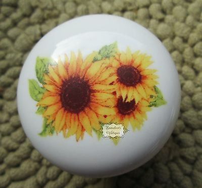 Kitchen Sunflowers White Ceramic Porcelain Cabinet Drawer Knob Vintage Decals