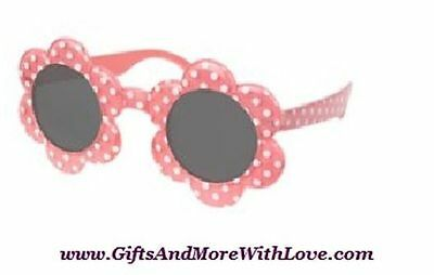 Gymboree NWT Pink Coral POLKA DOT FLOWER SUNGLASSES 0 1 2 3 4 5 6 7 8 9 10 11 12