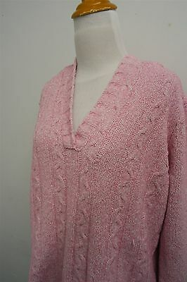 MOTHERHOOD MATERNITY pink cable knit sweater hoodie pullover sz XL womens #2495