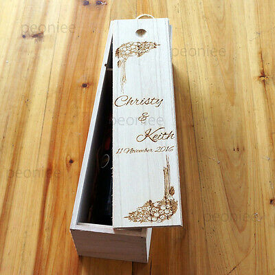 PERSONALIZED Engraving Bottle Wooden Wine Box Wedding Groomsman Birthday Gift