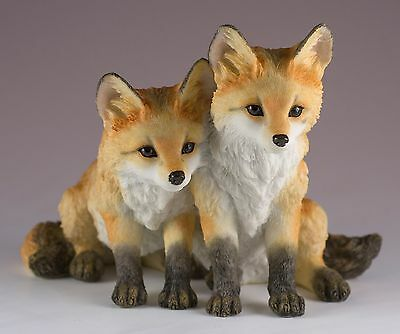 """Two Fox Pups Kits Figurine 4""""H Highly Detailed Polystone New In Box"""