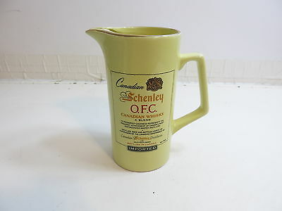 """Vintage Advertising Whiskey Pitcher Canadian Schenley Ofc In Yellow 7"""" Tall"""