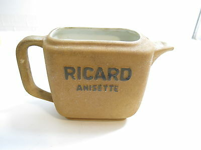 """Vintage Advertising Whiskey Pitcher Ricard Anisette 5 1/2"""" Tall France Pottery"""