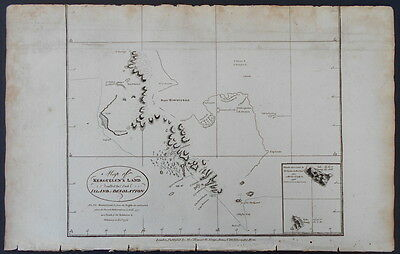 1785 Map: Kerguelen, Desolation Islands. Folio Captain Cook Antique Engraving.b