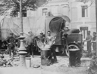 Soldiers cooking at an English Army field kitchen Amiens World War I 8x10 Photo