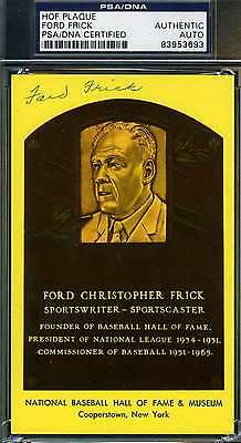 Ford Frick Signed Psa/dna Gold Hof Plaque Authentic Autograph