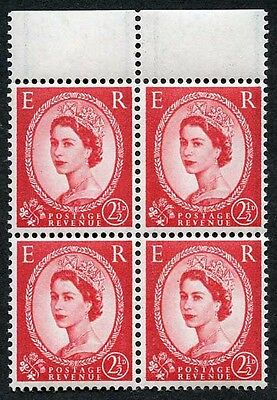 SG591 2 1/2d Carmine Red Wmk Crowns with Graphite Lines Block of 4 U/M