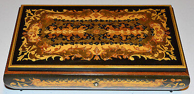 """Vintage REUGE Swiss Music Jewelry Box """"Love Story"""" Marquetry Inlaid Wood"""
