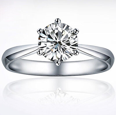925 Sterling Silver White Gold Fill Created Diamond Wedding Engagement Ring R121