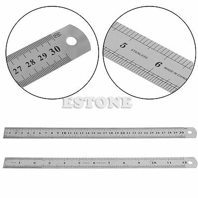 "12"" 30cm Measuring Metric Metal Ruler Double Sided  Stainless Steel Measure Tool"