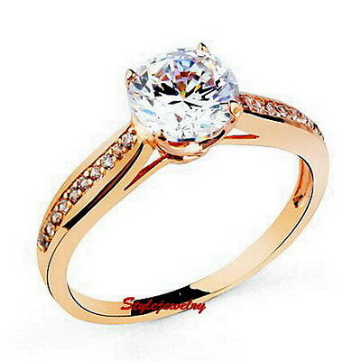 Rose Gold Filled Brilliant Cut Engagement Ring Made With Swarovski Crystal R161