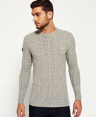New Mens Superdry Harlo Cable Crew Neck Jumper Stoneyford