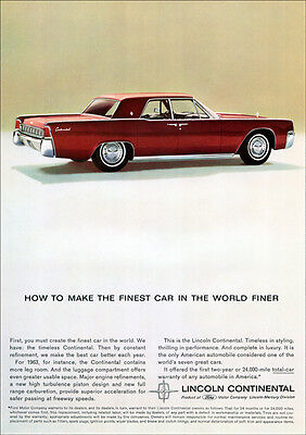 Lincoln Continental 63 Retro A3 Poster Print From Advert 1963