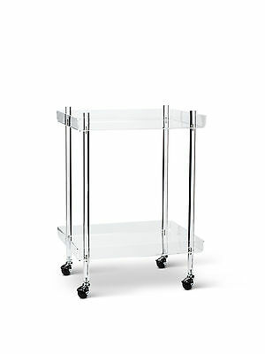 "Clear Acrylic 18"" x 22"" x 30"" Height Rolling Bar Dessert Serving Cart"