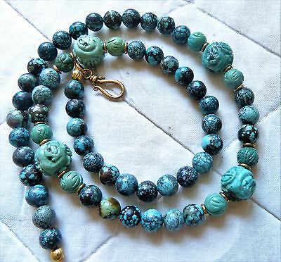 Antique Chinese spiderweb turquoise necklace with carved Shou beads