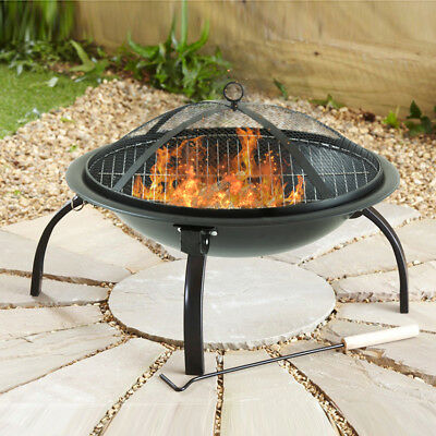 Black Fire Pit Folding Steel BBQ Camping Garden Patio Outdoor Heater Burner
