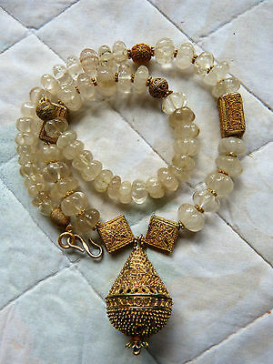 """Antique Tibetan Rock Crystal Melon Beads and Senegal """"gold"""", Or du Pays,"""