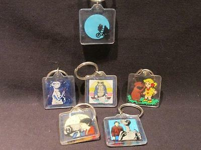 E.T. The Extra-Terrestrial Group of 6 Different Key Rings 1982 Universal Studios