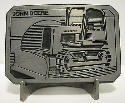 John Deere Utility Crawler Tractor Bulldozer Pewter Belt Buckle 1983 Collectible