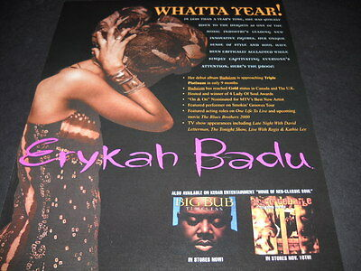 ERYKAH BADU Whatta Year she's had original Vintage PROMO POSTER AD
