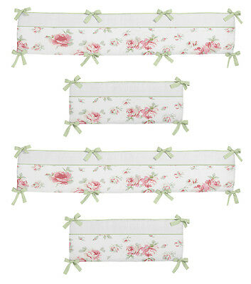 Soft Pink And Green Shabby Chic Floral Flower Baby Girl 4 Piece Crib Bumper Pad