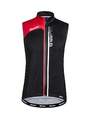 Guard 2.0 Rainproof CYCLING Vest - in Black/Red - Made it Italy by Santini