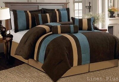 7 Piece Blue Brown Micro Suede Comforter Set King Size New