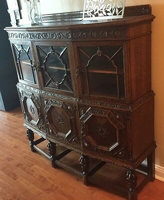 Antique Solid Wood Ornate Hutch China Cabinet Carved Grapes Beveled Glass Cherub