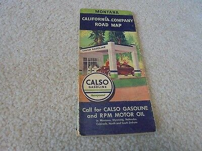 Vintage 1935 Calso Gasoline RPM Oil Montana Road Map Service Station