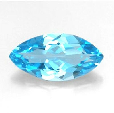 Natural Swiss Blue Topaz 14mm x 7mm Marquise / Navette Cut Gem Gemstone