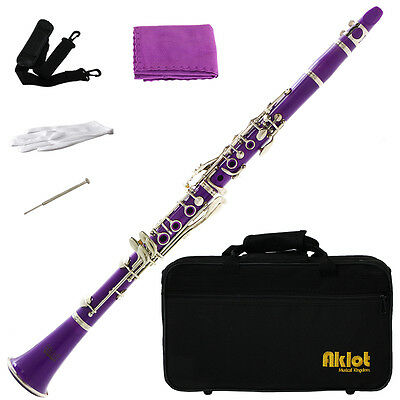 Aklot Bb Beginner Clarinet 17 Keys with Durable Purple ABS Body with Reed