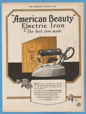 1923 American Beauty Electric Iron antique 1920's laundry room decor print ad