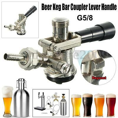 Beer Keg Coupler D System with Tap Lever Handle 55 PSI Pressure Relief Valve