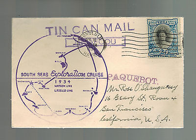 1934 Tonga Toga Tin Can Canoe Mail Cover to USA South Paqueboat SS Los Angeles