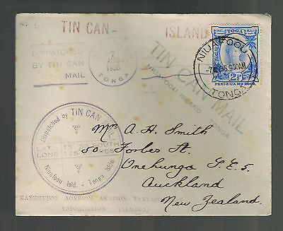 1936 Niuafoou Tonga Toga Tin Can Canoe Mail Cover to New Zealand RMS Monowai