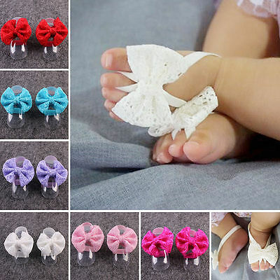 Newborn Baby Girls Lace Barefoot Sandals Foot Flower Band