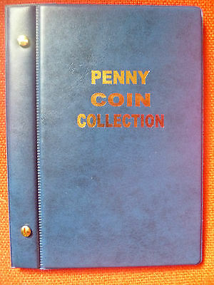 VST AUSTRALIAN 1d COIN ALBUM PENNY COLLECTION 1911 to 1964. MINTAGES PRINTED