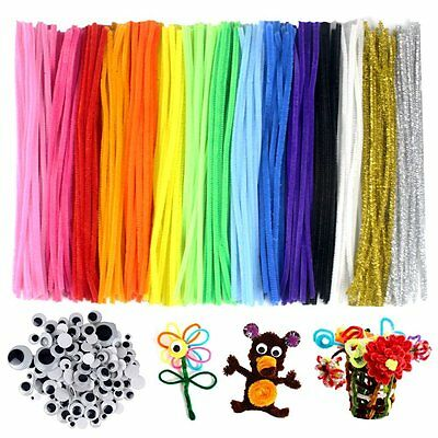 300pcs DIY Pipe Cleaners Set,15 Colors,With 100 Wiggle Googly Eyes As Gift