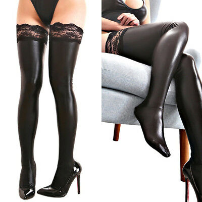 Stylish Women Spandex Shiny Thigh High Tights Socks Black PU Leather Stockings