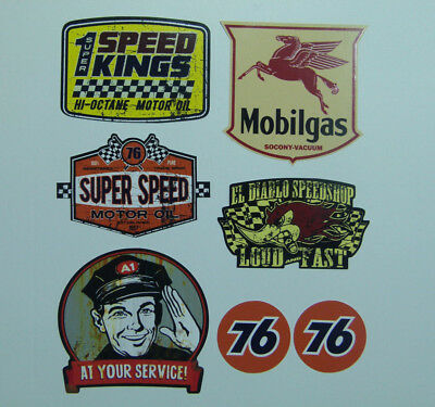 7er US Oldschool Cars Set Sticker Aufkleber Mobilgas 76 Pennzoil Rod Rockabilly