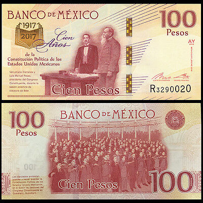 Mexico 100 Pesos, 2016/2017, P-New, UNC>100th COMM.