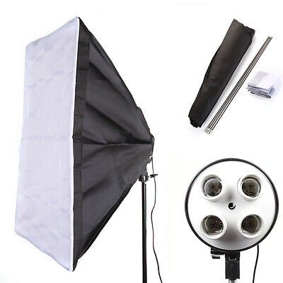 "E27 4 Bulb Light Lamp Head + 50x70cm 20x28"" Softbox Kit Fr Studio Photo Lighting"