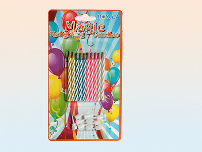 Pack Of 10 Relighting Joke Magic Trick Birthday Cake Candles With Holders NEW